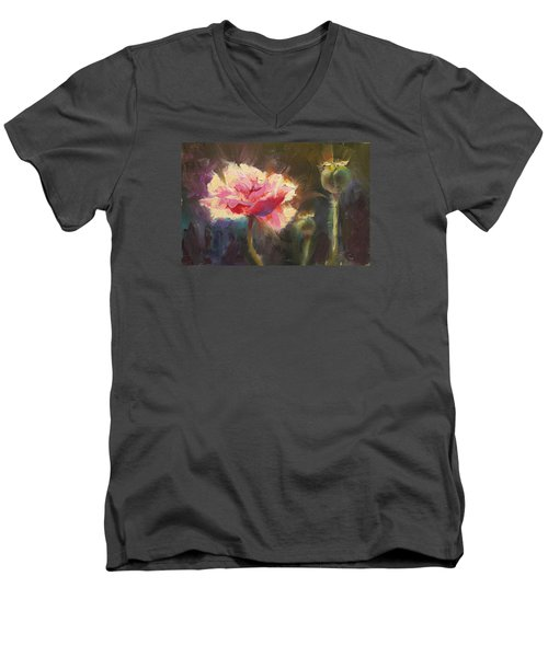 Poppy Glow Men's V-Neck T-Shirt by Karen Whitworth