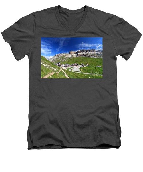 Pordoi Pass And Mountain Men's V-Neck T-Shirt
