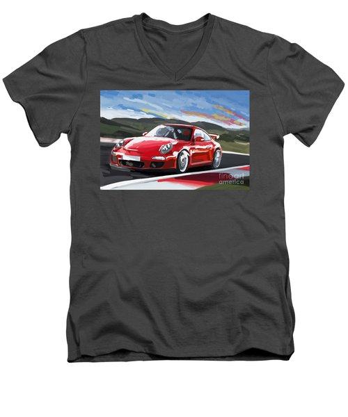 Porsche 911 Gt3 Impressionist Men's V-Neck T-Shirt