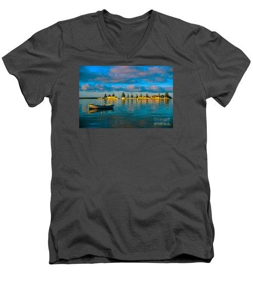 Port Albert Bay Men's V-Neck T-Shirt by James  Dierker