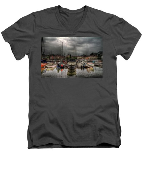 Port At Como Lake Men's V-Neck T-Shirt
