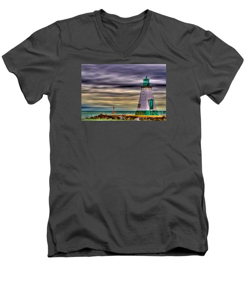 Men's V-Neck T-Shirt featuring the photograph Port Dalhousie Lighthouse by Jerry Fornarotto