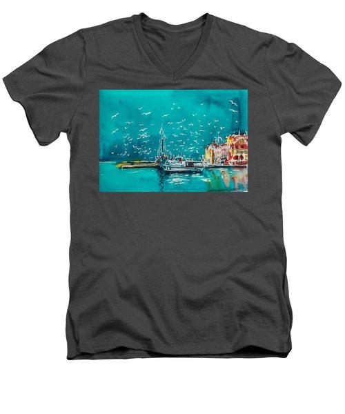 Port Men's V-Neck T-Shirt by Kovacs Anna Brigitta
