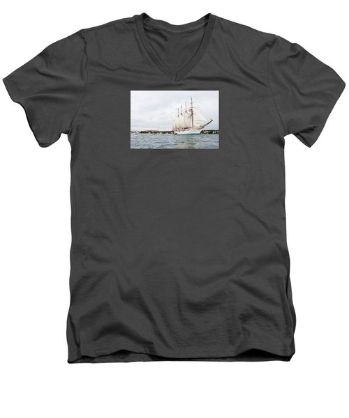 Juan Sebastian De Elcano Famous Tall Ship Of Spanish Navy Visits Port Mahon In Front Of Bloody Islan Men's V-Neck T-Shirt by Pedro Cardona