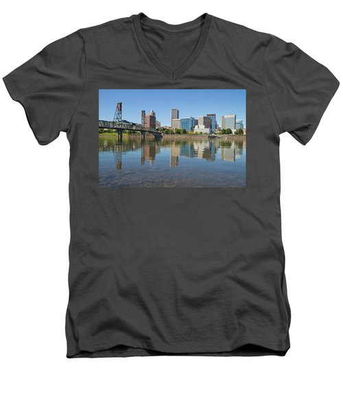 Men's V-Neck T-Shirt featuring the photograph Portland Downtown Skyline And Hawthorne Bridge by JPLDesigns