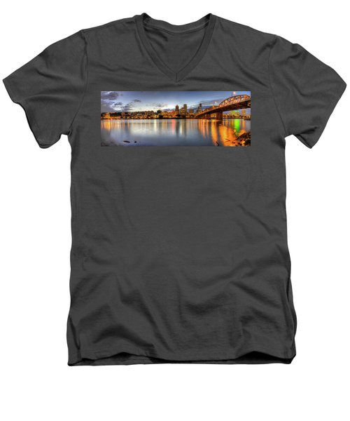 Portland Downtown Skyline Night Panorama 2 Men's V-Neck T-Shirt