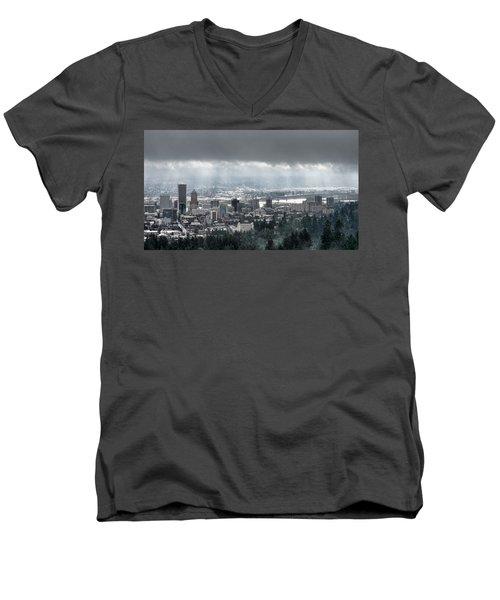Portland Oregon After A Morning Rain Men's V-Neck T-Shirt
