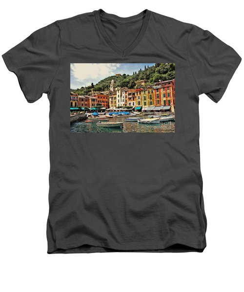 Men's V-Neck T-Shirt featuring the photograph Portofino Harbor 2 by Allen Beatty