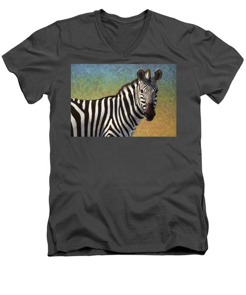 Men's V-Neck T-Shirt featuring the painting Portrait Of A Zebra by James W Johnson
