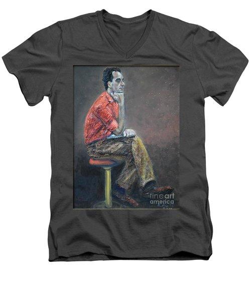 Portrait Of Ali Akrei - The Painter Men's V-Neck T-Shirt