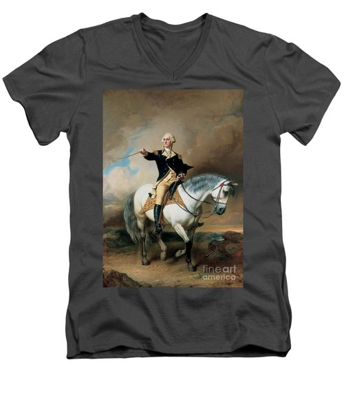 Portrait Of George Washington Taking The Salute At Trenton Men's V-Neck T-Shirt