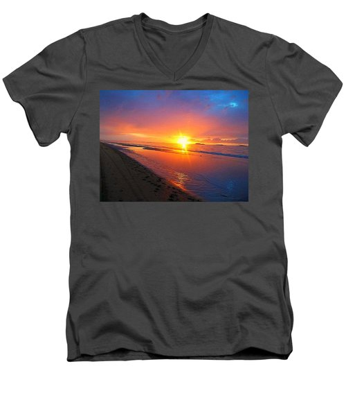 Portrush Sunset Men's V-Neck T-Shirt by Tara Potts