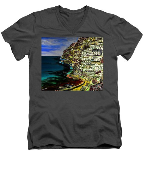 Positano At Night Men's V-Neck T-Shirt by Loredana Messina