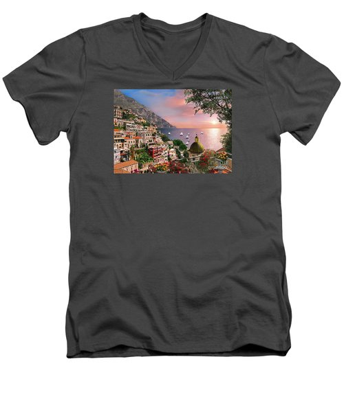 Positano Men's V-Neck T-Shirt by Dominic Davison