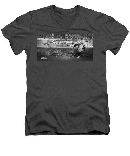 Men's V-Neck T-Shirt featuring the photograph Positive Meditation On The River by Stwayne Keubrick