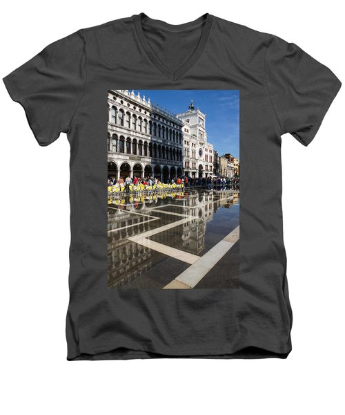 Men's V-Neck T-Shirt featuring the photograph Postcard From Venice by Georgia Mizuleva