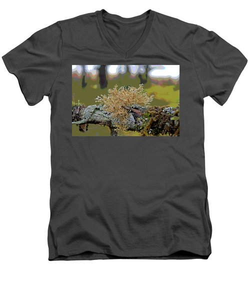 Posterized Antler Lichen Men's V-Neck T-Shirt by Cathy Mahnke