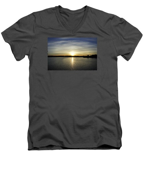 Potomac Sunset Men's V-Neck T-Shirt by Laurie Perry
