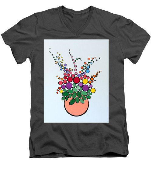 Potted Blooms - Orange Men's V-Neck T-Shirt