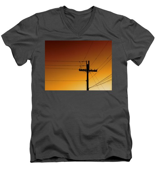 Power Line Sunset Men's V-Neck T-Shirt by Don Spenner
