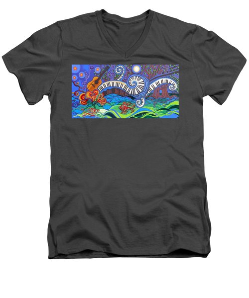 Power Of Music II  Men's V-Neck T-Shirt by Genevieve Esson