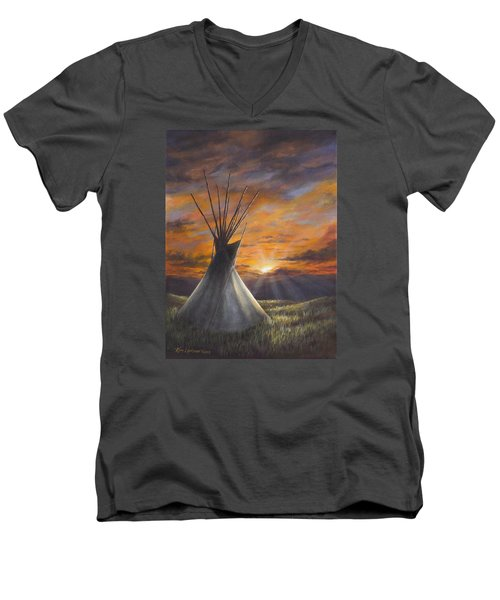 Men's V-Neck T-Shirt featuring the painting Prairie Sunset by Kim Lockman