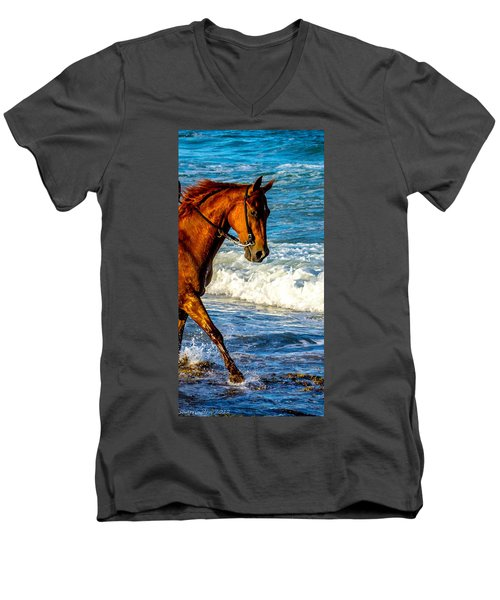 Prancing In The Sea Men's V-Neck T-Shirt by Shannon Harrington