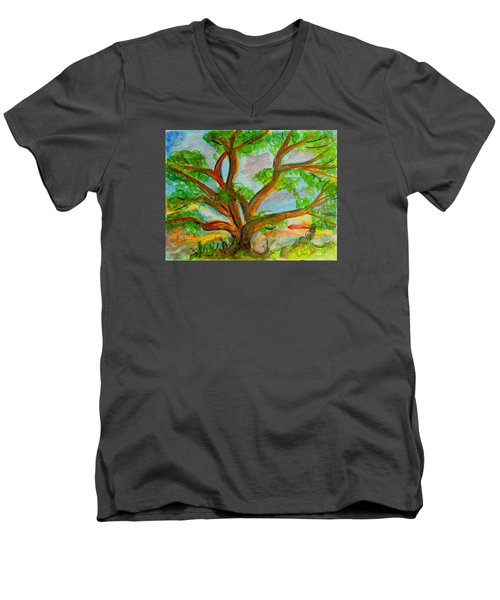 Prayer Mountain Tree Men's V-Neck T-Shirt