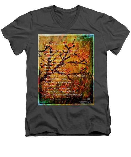 Prayer Of St. Francis Of Assisi  And Cherry Blossoms Men's V-Neck T-Shirt
