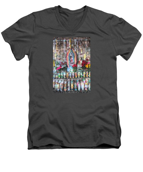 Prayers To Our Lady Of Guadalupe Men's V-Neck T-Shirt by Lanita Williams