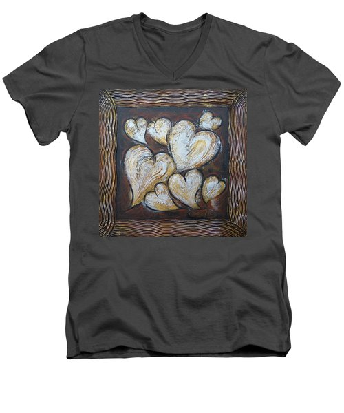 Men's V-Neck T-Shirt featuring the painting Precious Hearts 301110 by Selena Boron