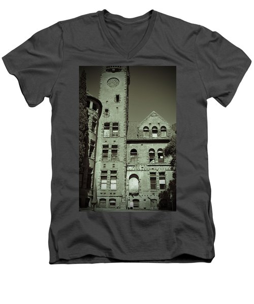 Preston Castle Tower Men's V-Neck T-Shirt by Holly Blunkall