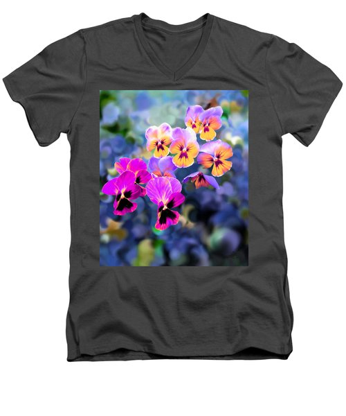 Pretty Pansies 3 Men's V-Neck T-Shirt by Bruce Nutting