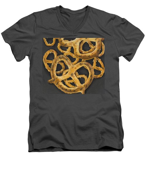 Men's V-Neck T-Shirt featuring the drawing Pretzels Study by Jennifer Hotai