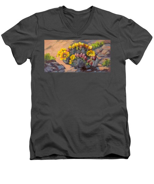 Prickly Pear Cactus In Bloom Men's V-Neck T-Shirt