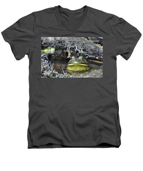 Men's V-Neck T-Shirt featuring the photograph Bullfrog by Glenn Gordon