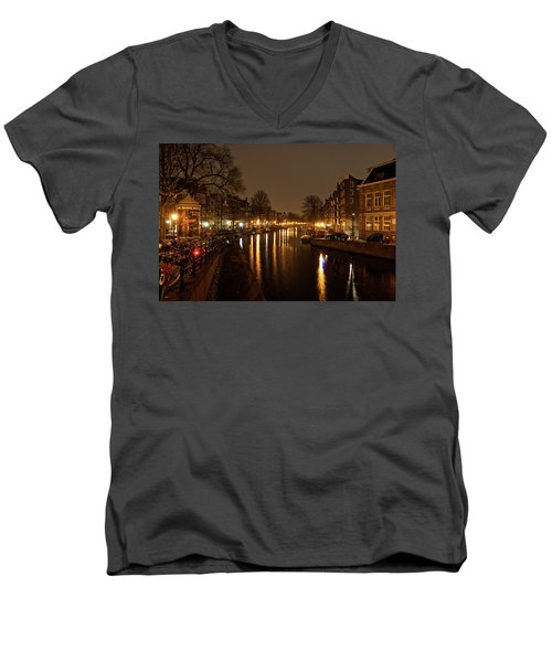 Prinsengracht Canal After Dark Men's V-Neck T-Shirt
