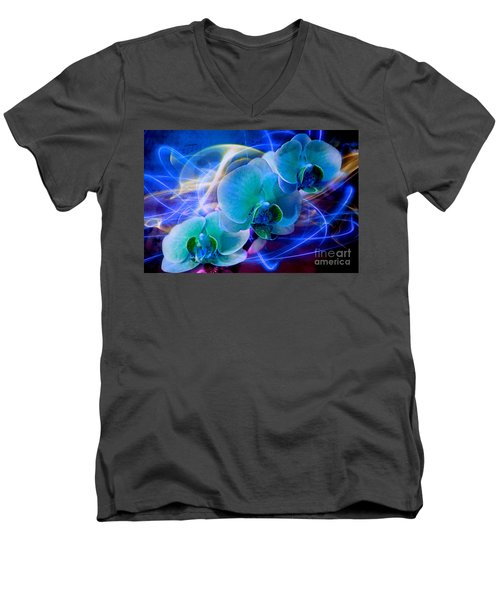 Men's V-Neck T-Shirt featuring the photograph Prismatic Orchid Swirl by Judy Palkimas