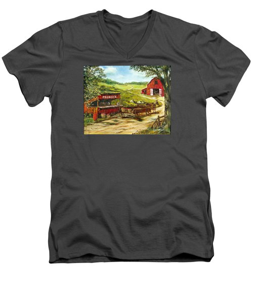 Men's V-Neck T-Shirt featuring the painting Produce Stand by Lee Piper