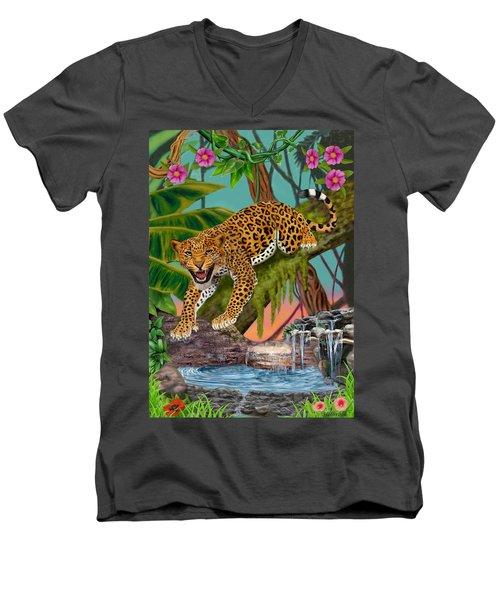 Prowling Leopard Men's V-Neck T-Shirt by Glenn Holbrook