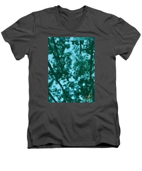 Men's V-Neck T-Shirt featuring the photograph Puddle Of Pines by Joy Hardee