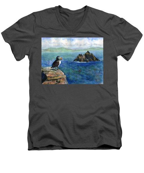Puffin At Skellig Island Ireland Men's V-Neck T-Shirt by John D Benson
