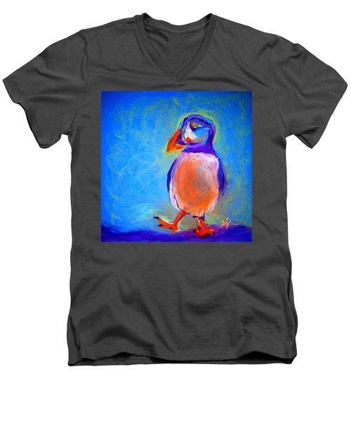 Funky Puffin Dancing Men's V-Neck T-Shirt