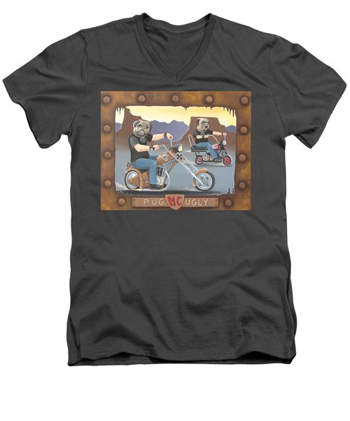 Pug Ugly M.c. Men's V-Neck T-Shirt by Stuart Swartz