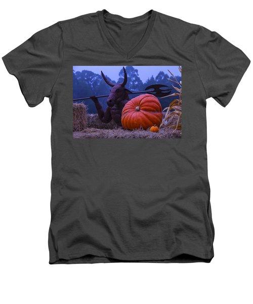 Pumpkin And Minotaur Men's V-Neck T-Shirt by Garry Gay