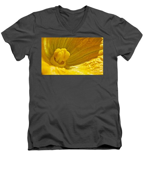 Men's V-Neck T-Shirt featuring the photograph Pumpkin Blossom by Linda Bianic