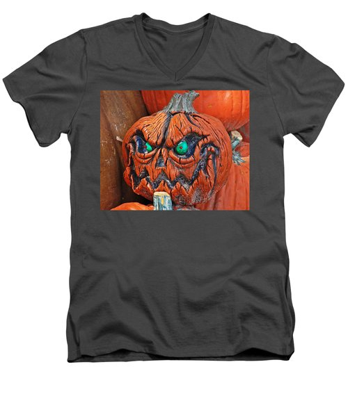 Pumpkin Face Men's V-Neck T-Shirt by Aimee L Maher Photography and Art Visit ALMGallerydotcom