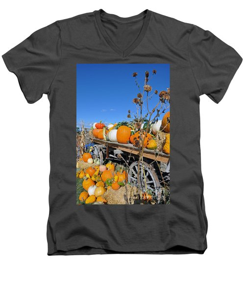Men's V-Neck T-Shirt featuring the photograph Pumpkin Farm by Minnie Lippiatt