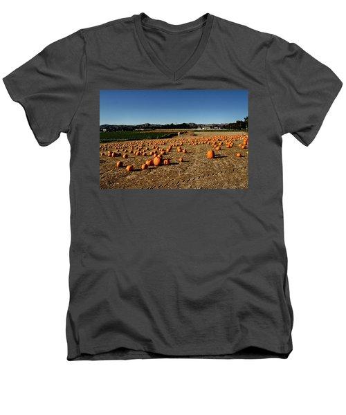Men's V-Neck T-Shirt featuring the photograph Pumpkin Field by Michael Gordon