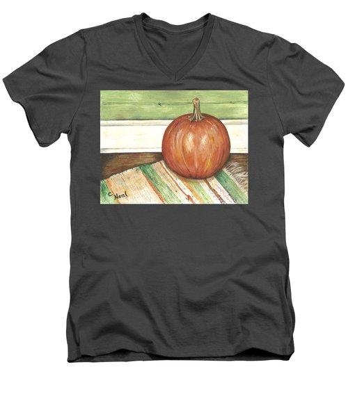 Pumpkin On A Rag Rug Men's V-Neck T-Shirt